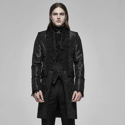 PUNK RAVE Men'sn Vintage Palace Lace Stand Collar Jacquard Coats