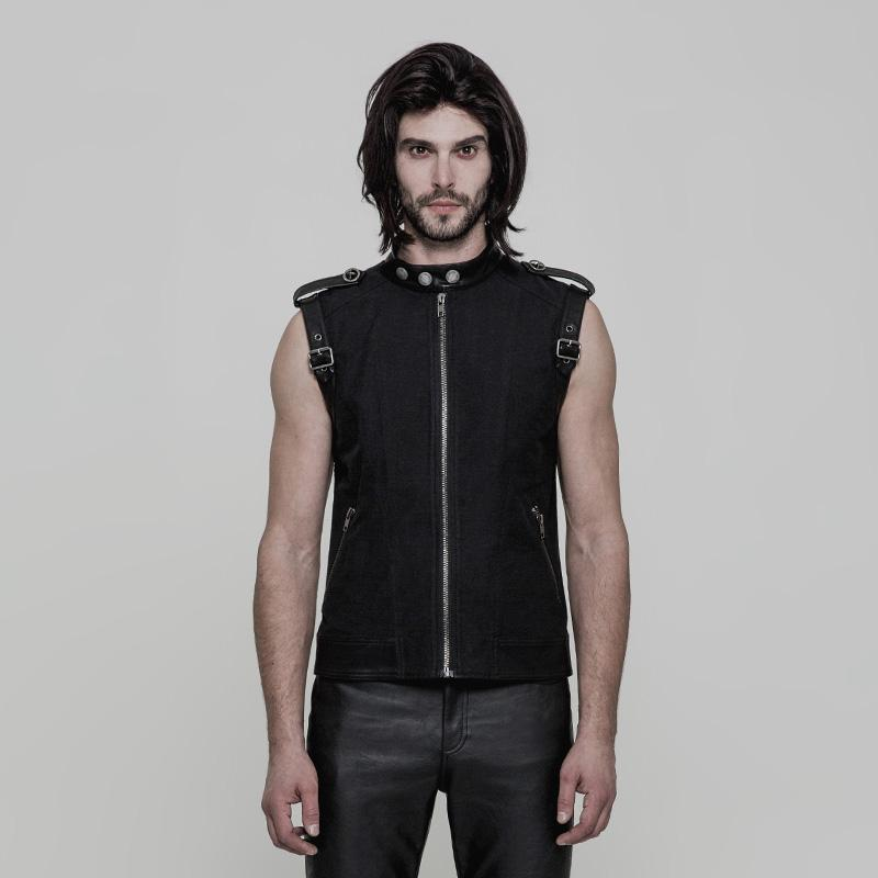 Punk Rave Men's Buckle Deco Slim Fitted Vest Y858-Punk Design