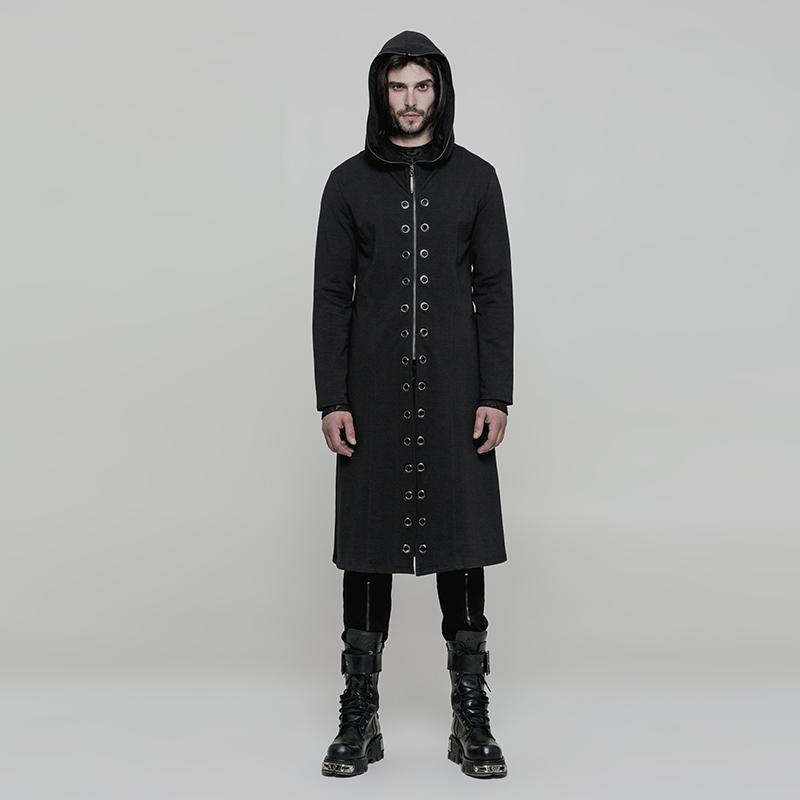 Punk Rave Men's Corns Design Split Zipper Hooded Long Coat Y856-Punk Design