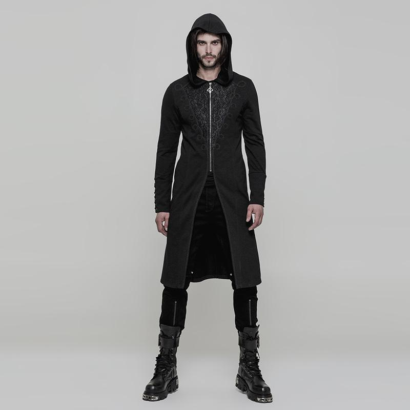 Punk Rave Men's Gothic 3D Jacquard Zipper Hooded Coat-Punk Design