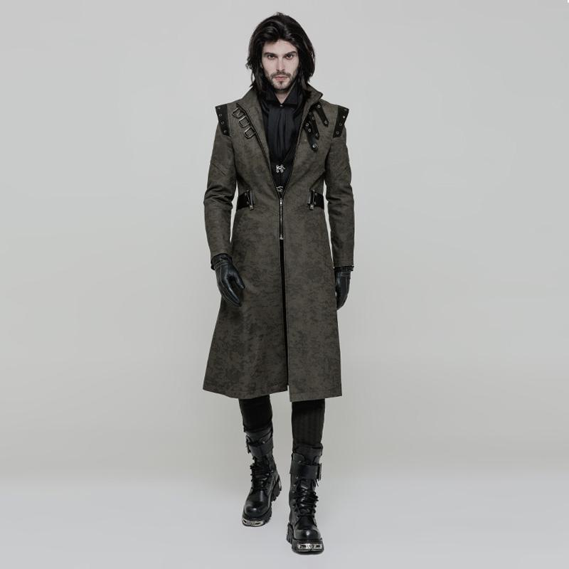 Punk Rave Men's Gothic Buckle Neckline Jacquard Handsome Coat-Punk Design