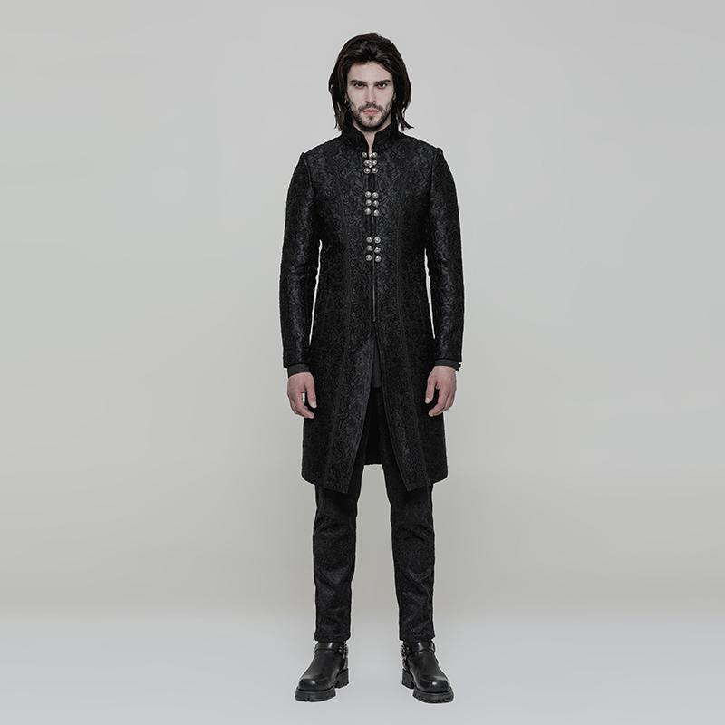 Punk Rave Men's Gothic Gorgeous Jacquard Slit Design Coat-Punk Design