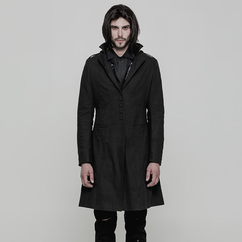 PUNK RAVE Punk Rave Men's Gothic Single Breasted Turn-down Collar Coat