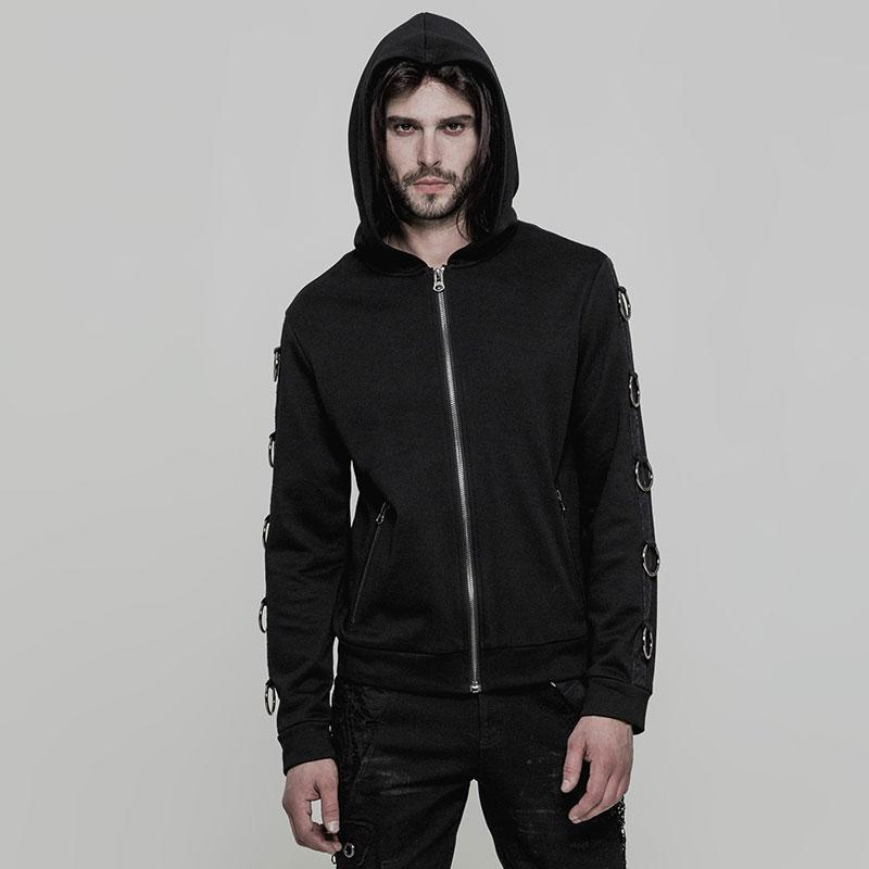 Punk Rave Men's Metal Ring Deco Zipper Hoodies Y865-Punk Design