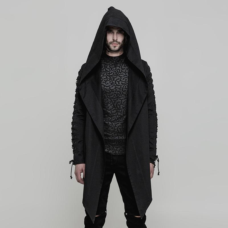 Punk Rave Men's Punk Lace-up Drawstring Sleeve High/low Hooded Coat Y879-Punk Design