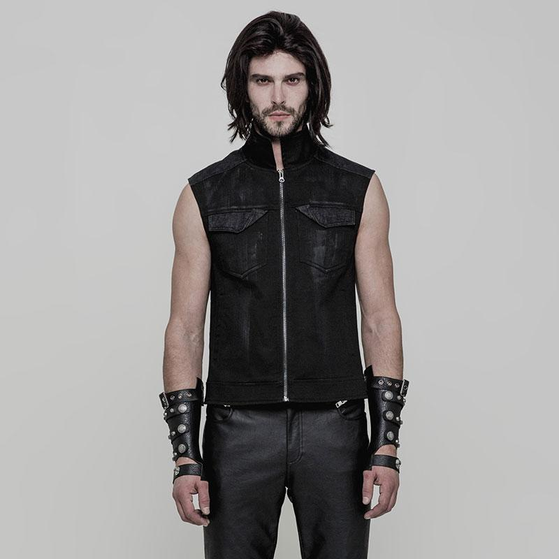 Punk Rave Men's Stand Collar Keel Shape Back Zipper Vest Y863-Punk Design