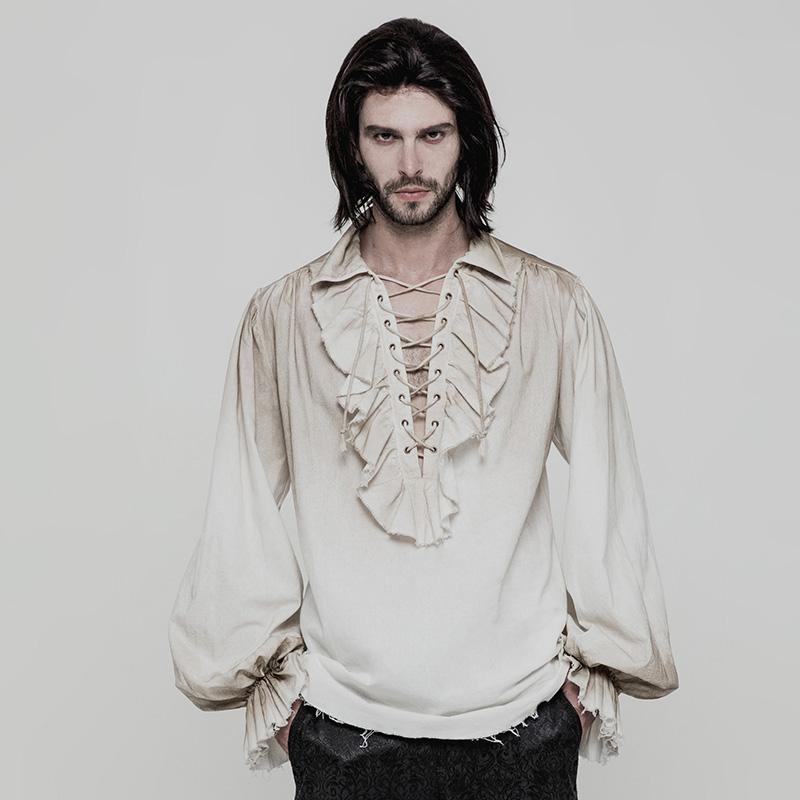 Punk Rave Men's Steampunk Ruched Lace-up Drawstring Long-Sleeve Shirt Y873-Punk Design
