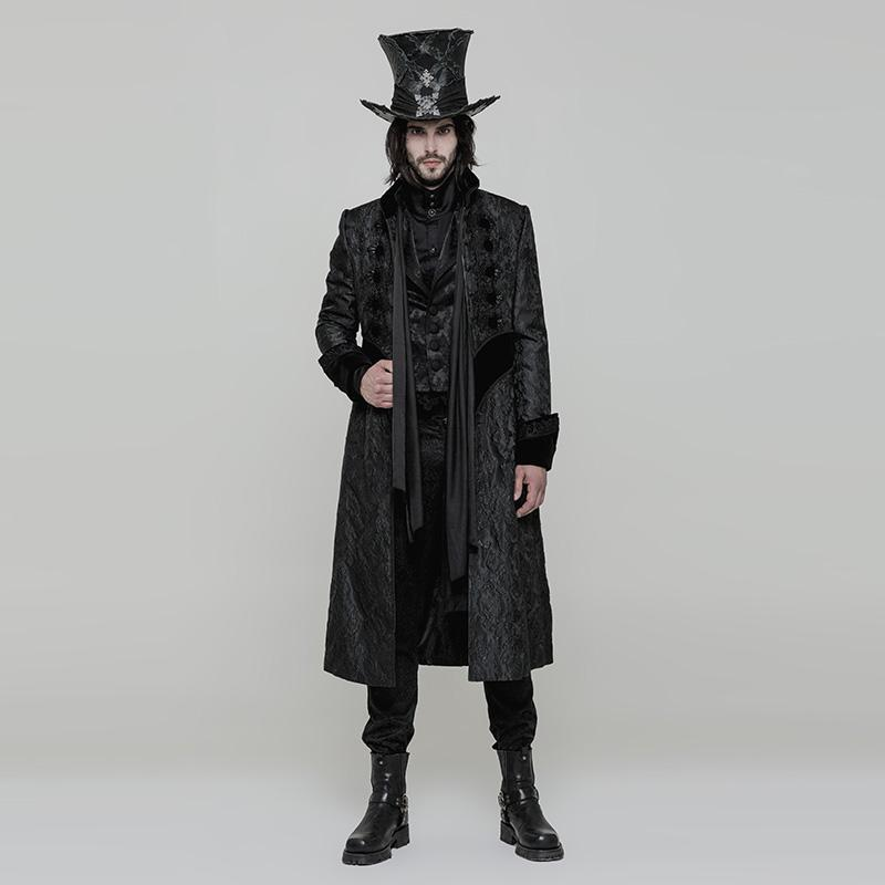 Punk Rave Men's Steampunk Victoria Gorgeous Jacquard Slim Fitted Long Coat Y874-Punk Design