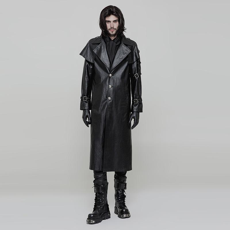 Punk Rave Men's Turn-down Shawl Collar Long Faux Leather Coat Y877-Punk Design