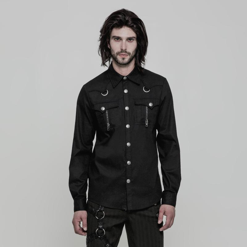Punk Rave Men's Zipper Pocket Slim Fitted Long-Sleeve Shirt Y875-Punk Design