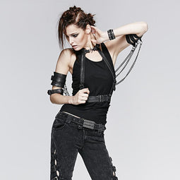 Women's Gothic Faux Leather Mental Chain Harness-Punk Design