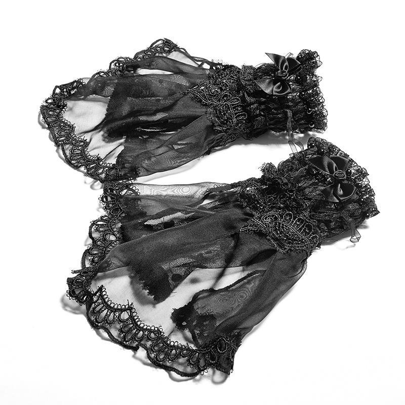 Women's Lolita Handmade Rose Lace Gloves-Punk Design