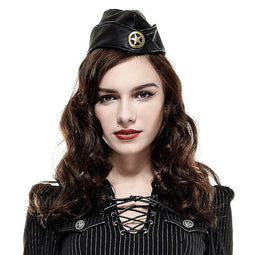 Women's Militaty Uniform Softtextile Faux Leather Cap-Punk Design