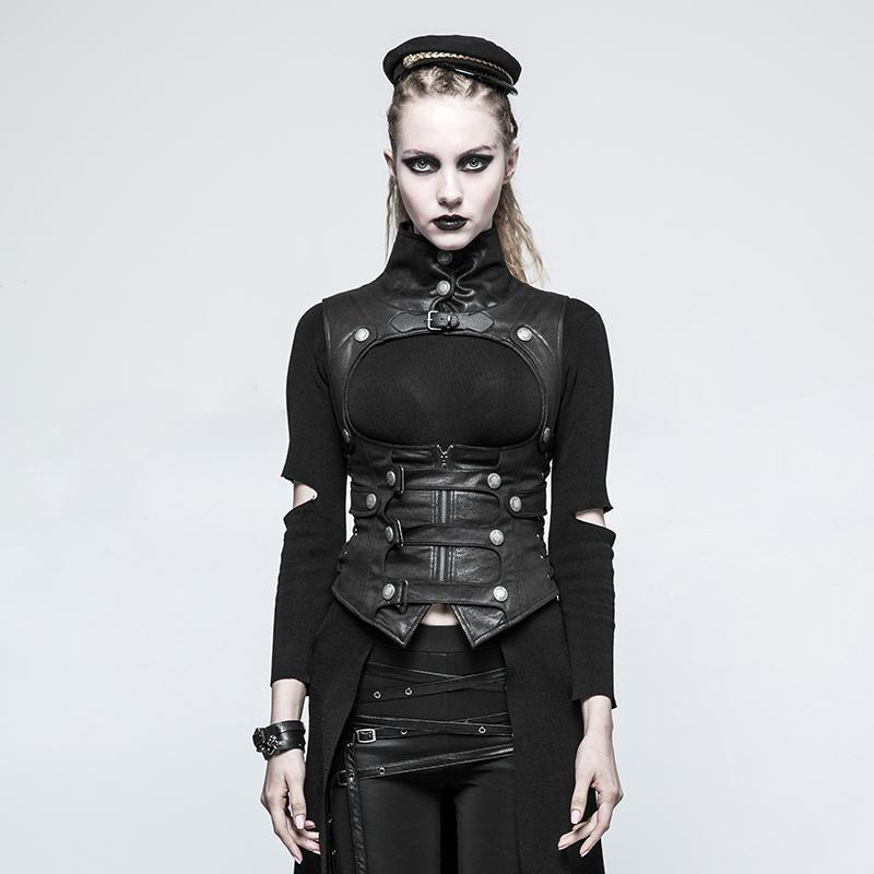 PUNK RAVE Women's Accessories Women's Steampunk Buckles High Collar Faux Leather Waistcoats Black