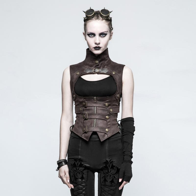 Women's Steampunk Buckles High Collar Faux Leather Waistcoats Coffee-Punk Design