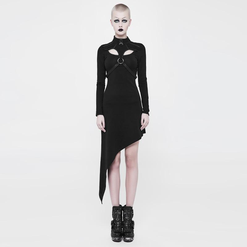 Women's Assymetrical Punk Sheath Dress-Punk Design