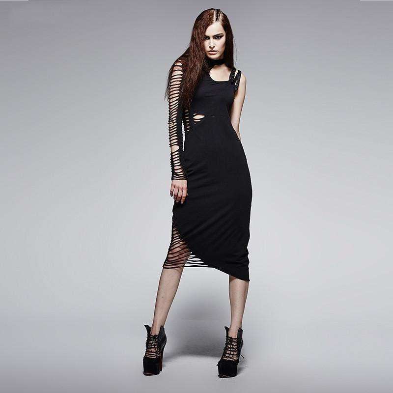 Women's Asymmetric Cutout Slim Fitted Dress - PunkDesign