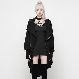 Women's Asymmetrical Goth Hooded Coat With Rings-Punk Design