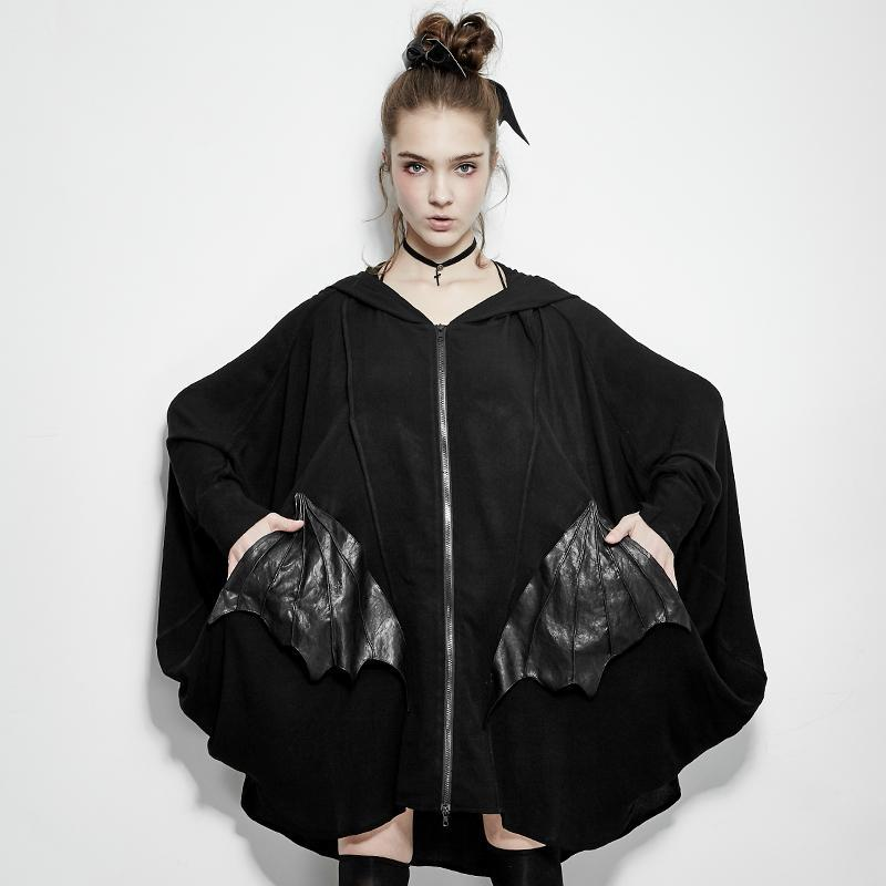 Women's Batwing Sleeve Coat With Bat Modelling Pocket-Punk Design
