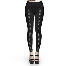 PUNK RAVE Women's Buckle Up Black Slim Fitted Leggings