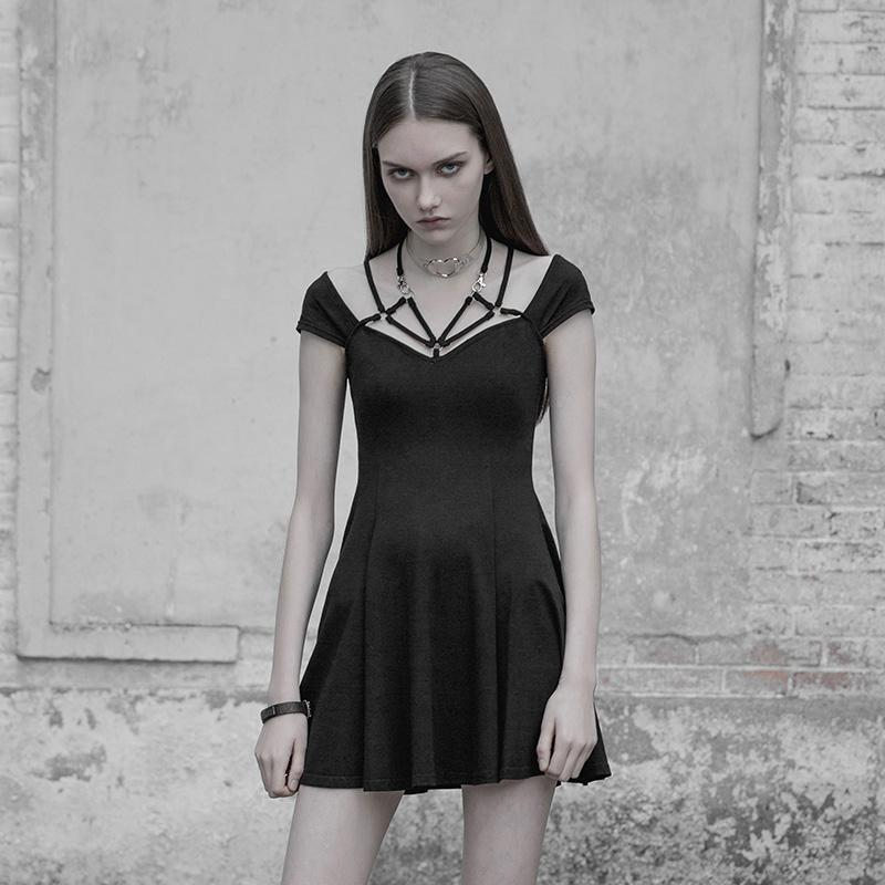 Womens Cap Sleeved Strappy Punk Dress