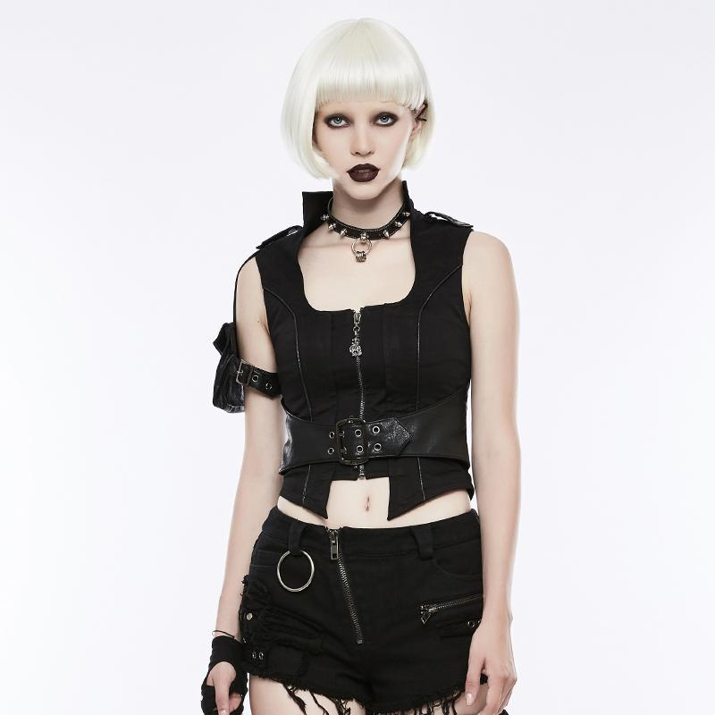 Women's Buckle Belt Slim Fitted Handsome Vest Waistcoat-Punk Design
