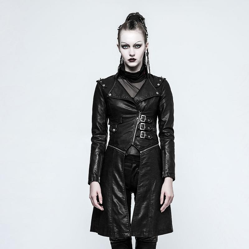 Women's Buckle Faux Leather Long Jacket-Punk Design