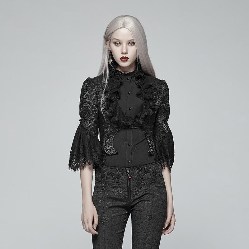Women's Goth Puff Flare Sleeve Lace Short Jackets-Punk Design