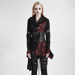 Women's Gothic Embroidered Kimono Coat With Girdle-Punk Design