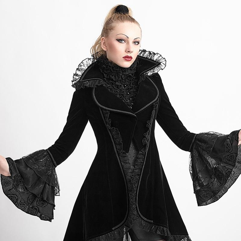 PUNK RAVE Women's Coats & Jackets Women's Gothic Flare Sleeve Lace Up Swallow Tail Overcoat