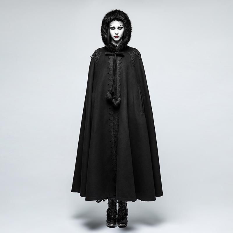 Damen Gothic Fur Hooded Woolen Cloak-Punk Design