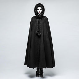 Women's Gothic Fur Hooded Woolen Cloak-Punk Design
