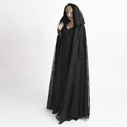 Women's Gothic Hooded Lace Long Witch Cloak Cape-Punk Design
