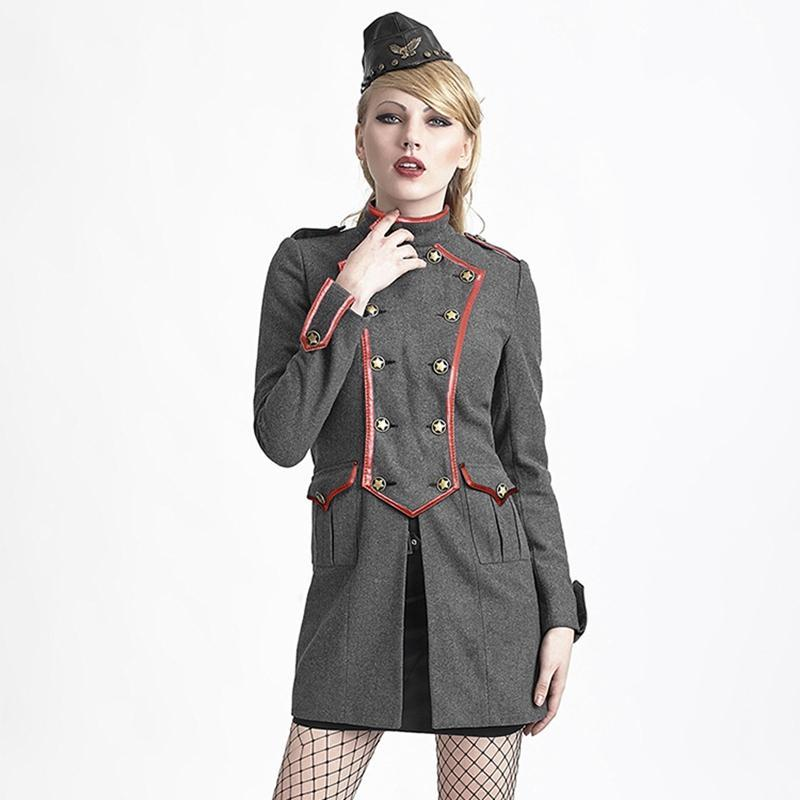 Women's Gothic Military Style Double Breasted Woolen Overcoat Gray-Punk Design