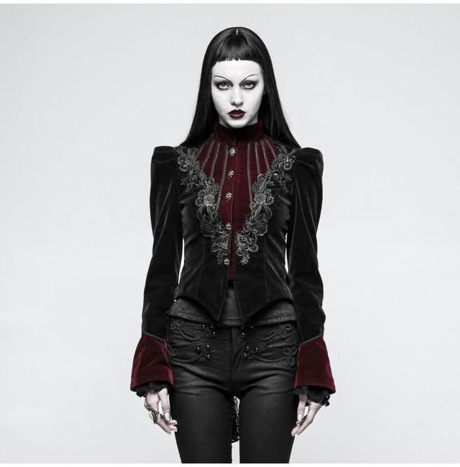 Women's Gothic Stand Collar Forked Tail Velvet Jackets-Punk Design