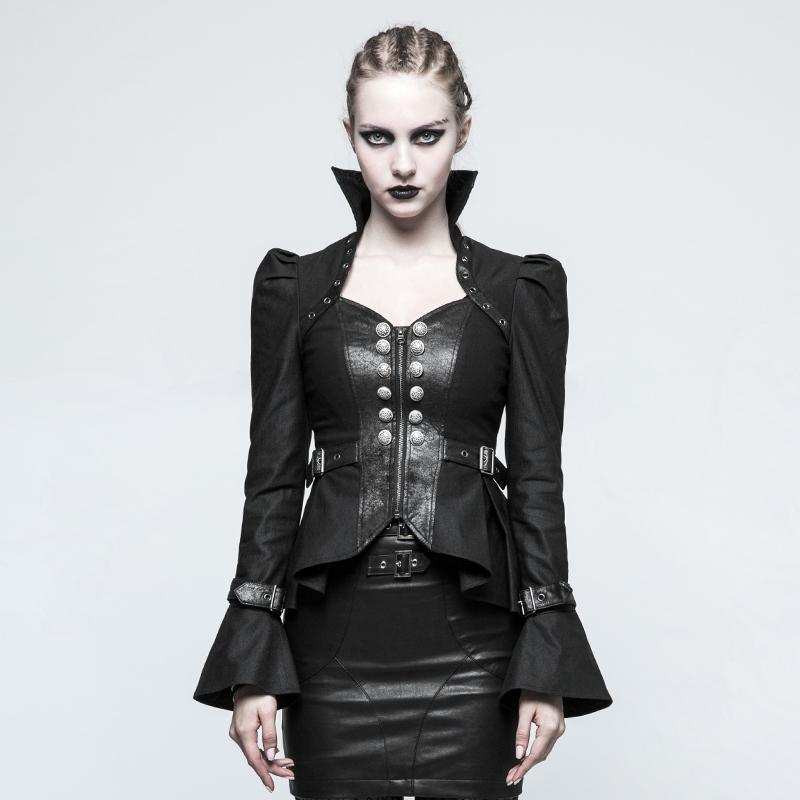 Women's Gothic Trumpet Sleeved Short Jacket Black-Punk Design