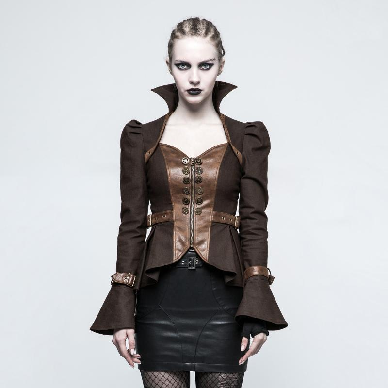 Women's Gothic Trumpet Sleeved Short Jacket Coffee-Punk Design