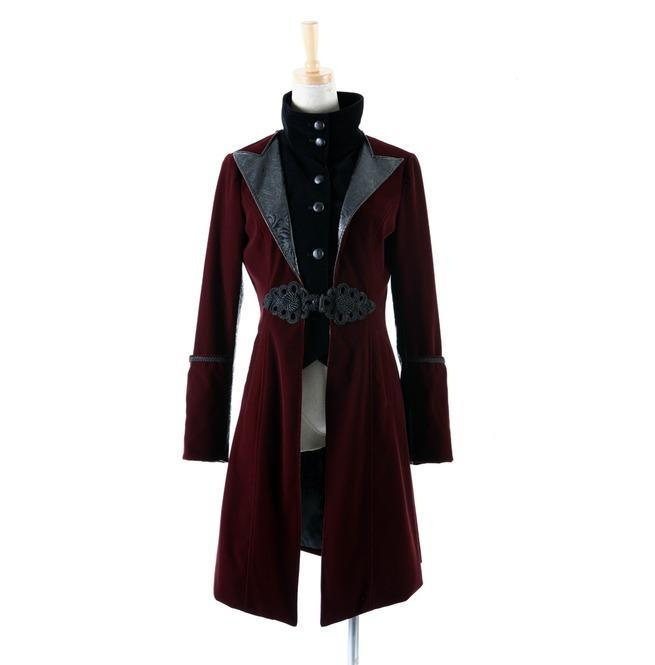 Women's Gothic Victoria's Faux Leather Lapel Overcoat-Punk Design