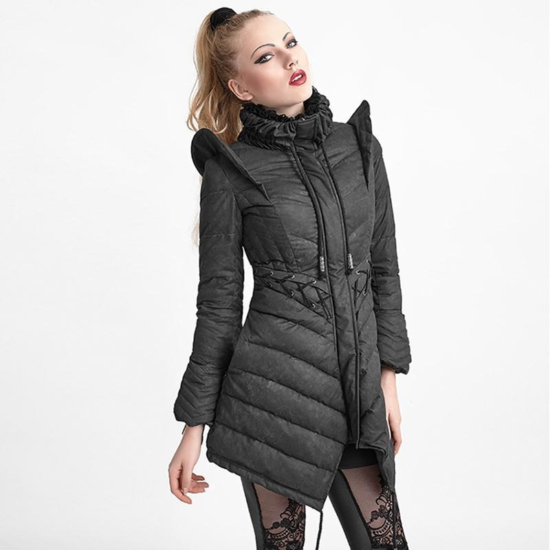 Women's High Collar Lace Up Down Jacket-Punk Design