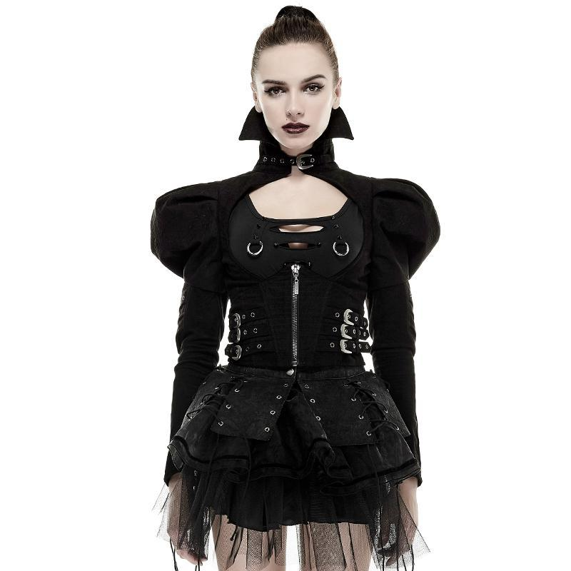 Women's High Collar Puff Sleeves Back Lace Up Short Jacket Black-Punk Design