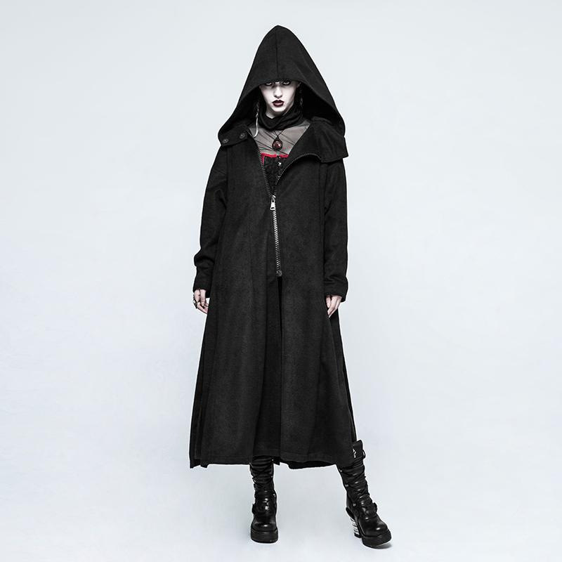 Women's Hooded Cardigan Loose Long Coat-Punk Design