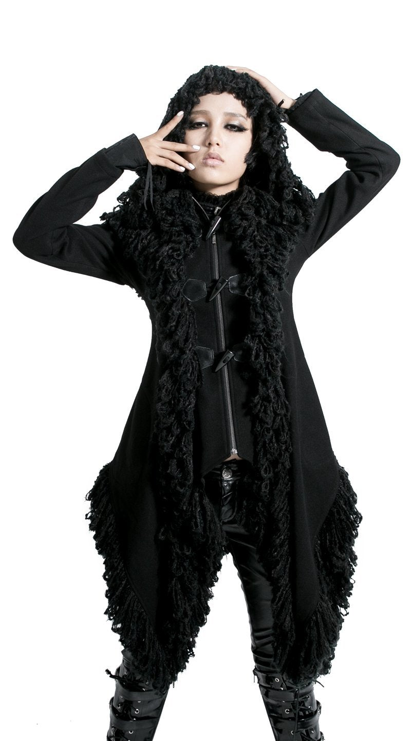 Women's Horn Button Hooded Irregular Overcoat-Punk Design