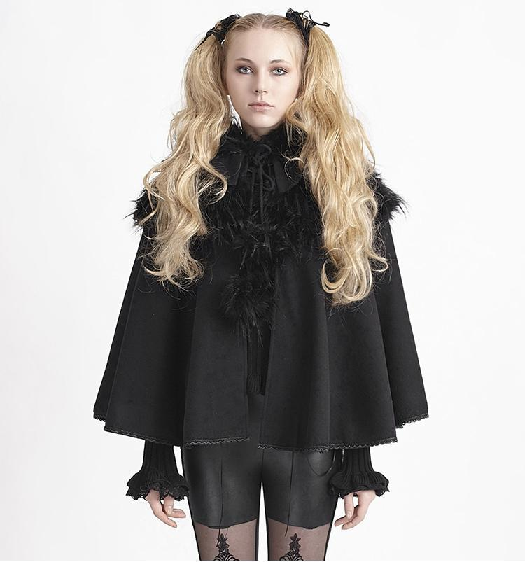 Women's Lolita Black Winter Hooded Cape Coat-Punk Design