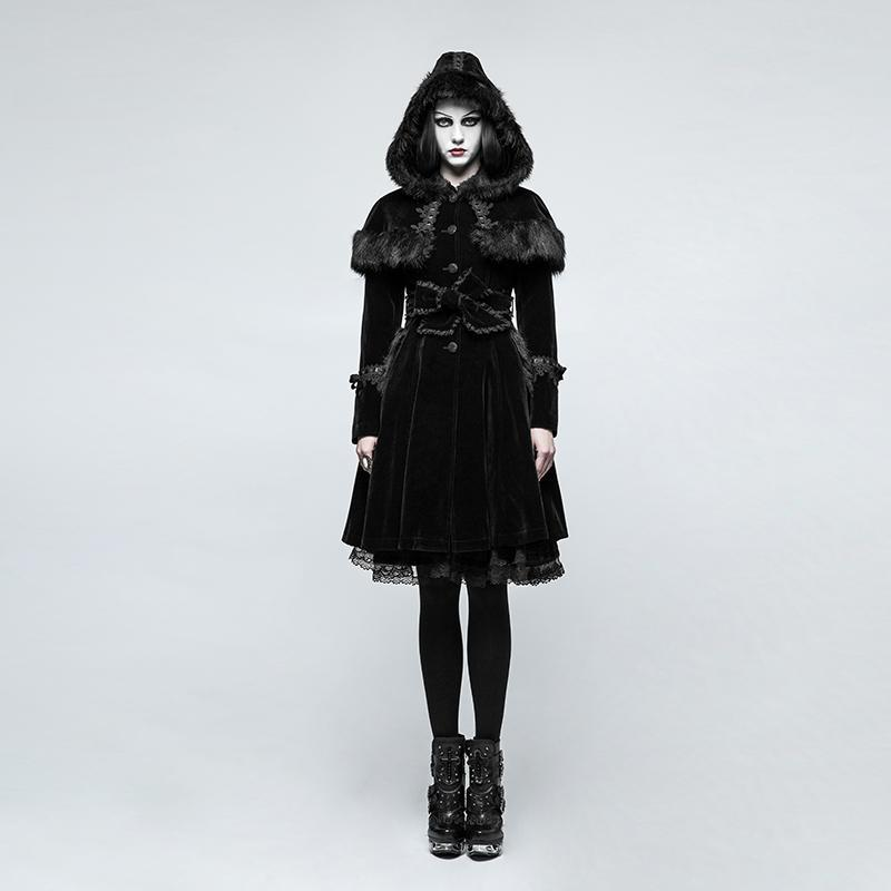 Women's Lolita Hooded Woolen Overcoat With Belts-Punk Design