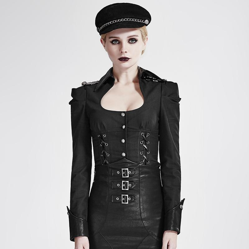 Women's Military Lace Up Single Breasted Slim Fitted Coat-Punk Design