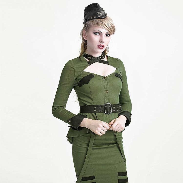 Women's Military Style Swallow Tail Coat With Belt Green-Punk Design