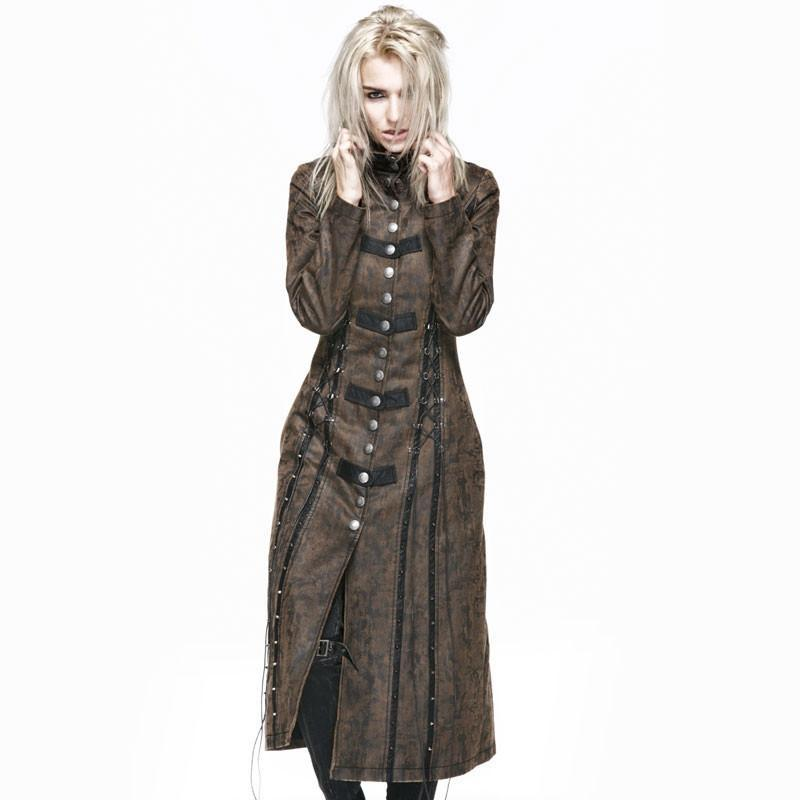 Women's Military Style Vintage Lace Up Overcoat-Punk Design