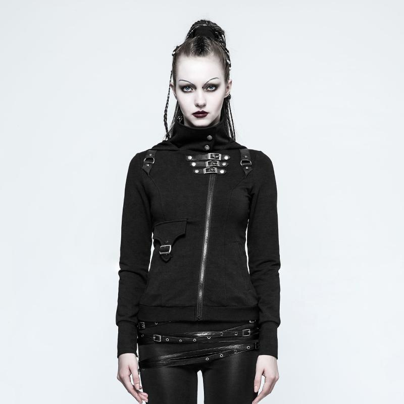 Women's Punk Buckles Hooded Jackets-Punk Design