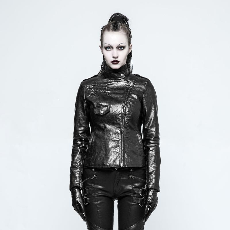 Women's Punk Faux Leather Motorcycle Jacket-Punk Design