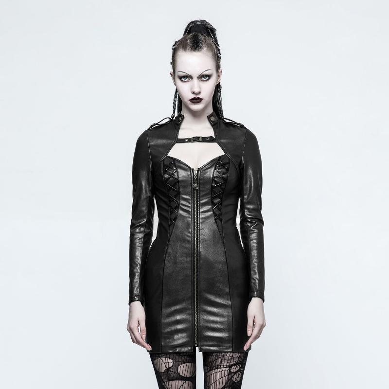 Women's Punk Faux Leather Slim Fitted Long Jackets-Punk Design